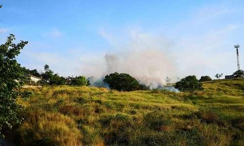 Вокруг Митридата загорелась сухая трава
